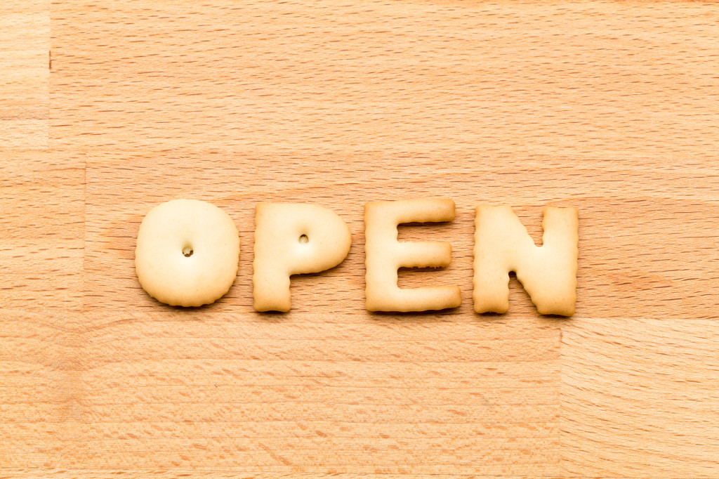 Word open cookie over the wooden background